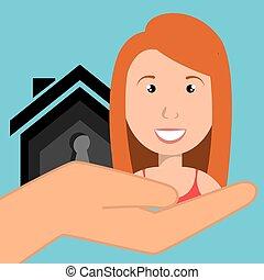 woman hand house key
