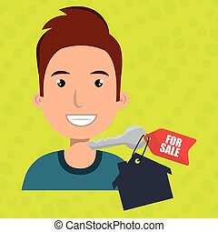 man house key rent vector illustration graphic