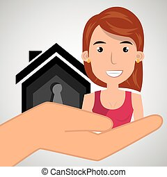 woman hand house key vector illustration eps 10