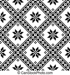 Ukrainian or Belarusian pattern - Monochrome pattern from...