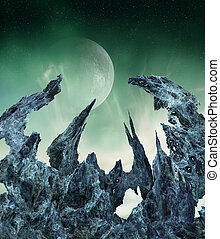 Alien world - Extraterrestrial landscape with crystal-like...