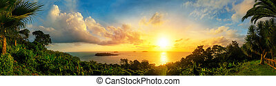 Panorama of a gorgeous sunset at the sea