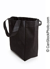 Black reusable shopping bag with white background