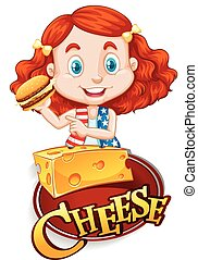 Cute girl having cheeseburger illustration
