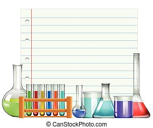 Paper design with beakers and testtubes illustration