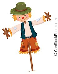 Scarecrow wearing green hat illustration