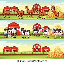 Scenes in the farm with farmer and animals illustration