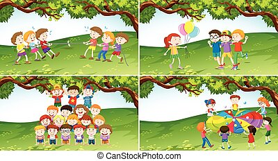 Children playing game in the park illustration
