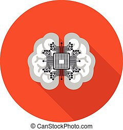 flat icon brain with a microchip - flat icon neural network...