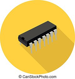 flat icon microchip in vector format eps10