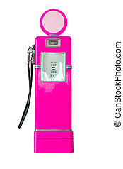 Vintage pink fuel pump on white - Old pink petrol gasoline...