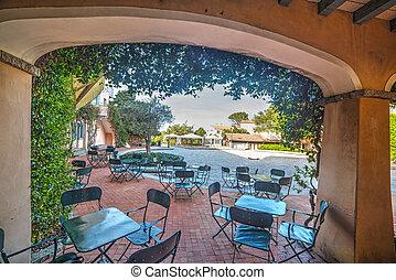 tables and chairs in Porto Rotondo, Sardinia