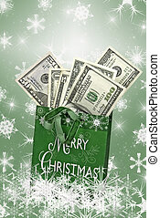 Cold Cash - Christmas bag filled with cash.