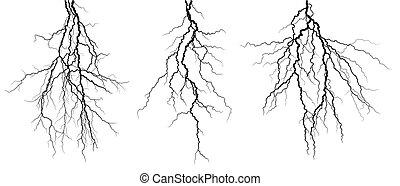 Lightning stroke. - A lightning stroke in the night sky.