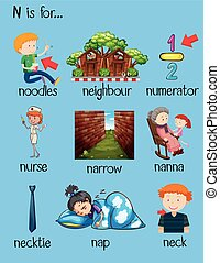 Many words begin with letter N illustration