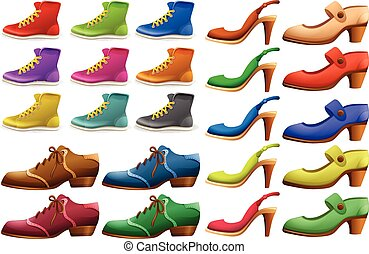 Different designs of shoes