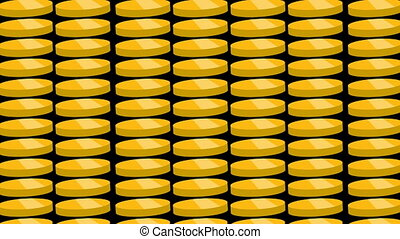 Gold coins falling. Beautiful Looped animation.