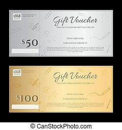 Gift voucher or gift certificate template in luxury gold and silver theme