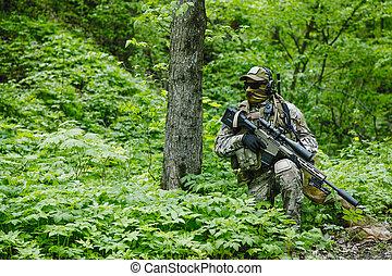 verde, boinas, franco-atirador