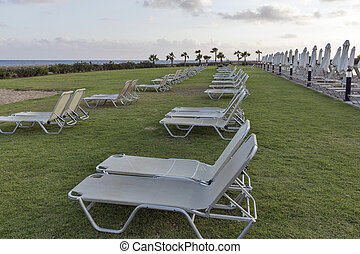 Mediterranean palm beach with empty sunbeds at sunset -...