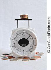 Coins on a weight scale - A bunch of coins and change on a...