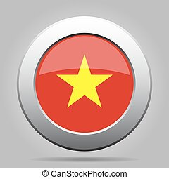 metal button with flag of Vietnam - metal button with the...