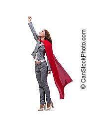 joven, superwoman, aislado, en, blanco