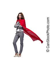 blanco,  superwoman, joven, aislado