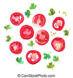 Red tomato slices with parsley - Watercolour illustration of...