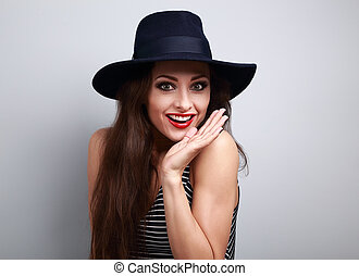 Happy bright makeup surprising woman looking fun in fashion...