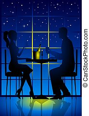 Candle Light Dinner - An illustration of a couple having a...