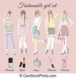 Young fashion girls illustration.