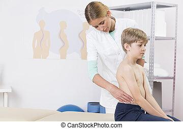 ortopédico, examen, pediátrico