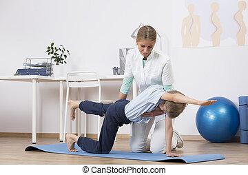 toma, cuidado, de, Un, derecho, cuerpo, postura