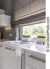Kitchen with roller blinds idea - Image of high gloss white...