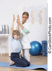 físico, terapia, para, niños