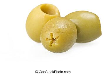 dénoyauté,  olives, vert