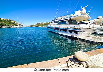 yachts in Poltu Quatu on a sunny day, Sardinia