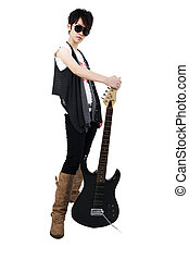 Punk Rockstar holding a guitar isolated in white