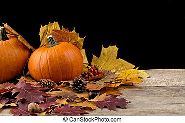 Pumpkin with autumn leaves for thanksgiving day on black...