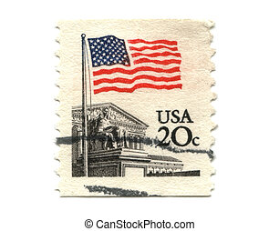 US postage stamp on white background 20c -
