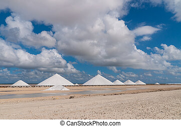 Salt mountains at Bonaire - Dutch Antilles, Caribbean.