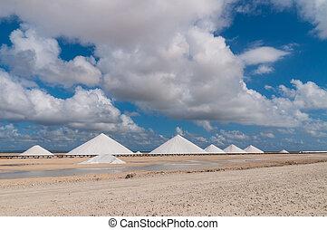 Salt mountains at Bonaire - Dutch Antilles, Caribbean.