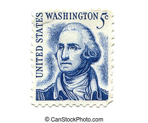 US postage stamp on white background 5c - George Washington