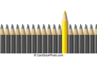 Yellow pencil standing out from crowd of gray pencils