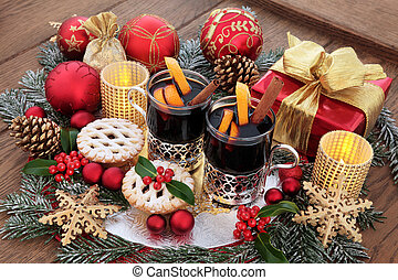 Christmas Eve Scene - Christmas still life with food and...