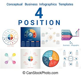 Infographics Business Conceptual Cyclic Processes for Four...