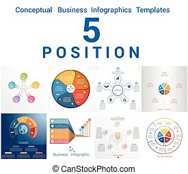 Infographics Business Conceptual Cyclic Processes Five...