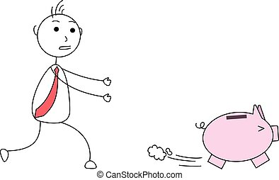 Piggy bank running away from a person