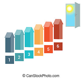 Template for Infografics Six Number Options